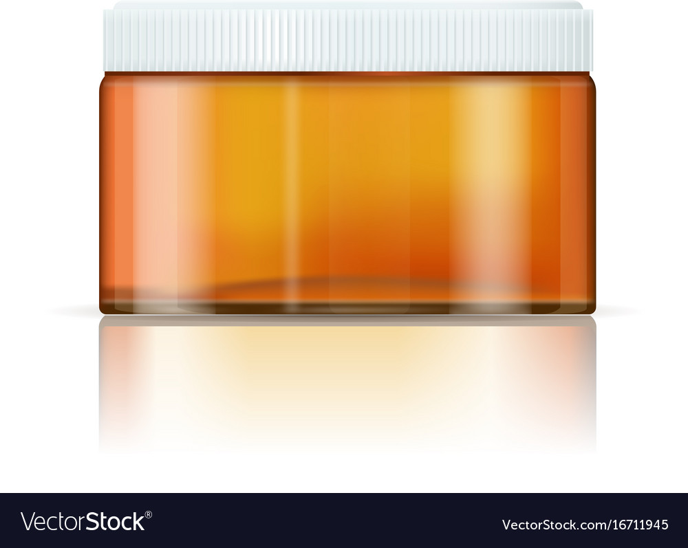 cream container pharmaceutical brown glass bottle vector image