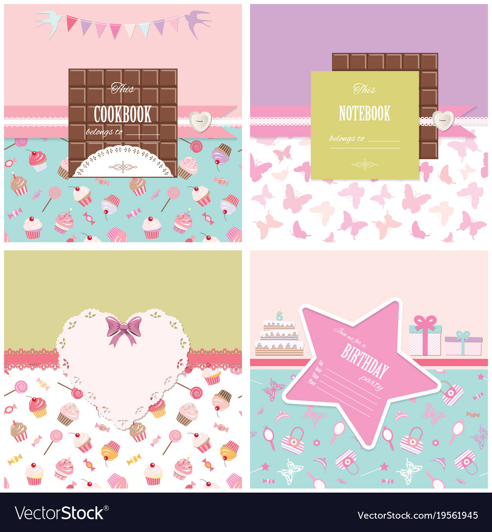 cute templates set for girls can be used for vector image