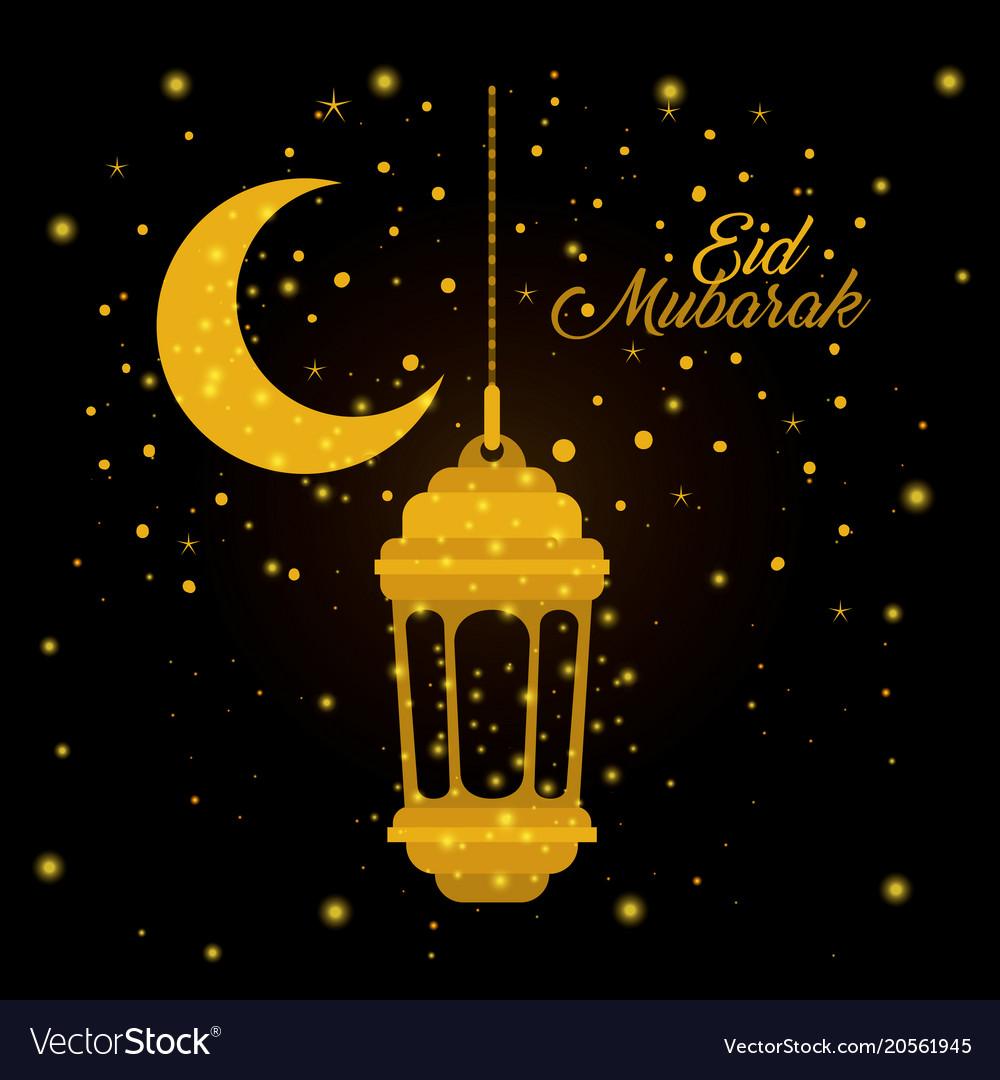 eid mubarak lantern with moon and stars royalty free vector
