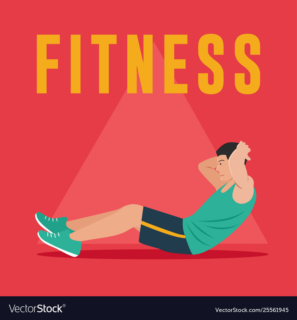 Fitness Man Doing Abdominal Exercises Royalty Free Vector