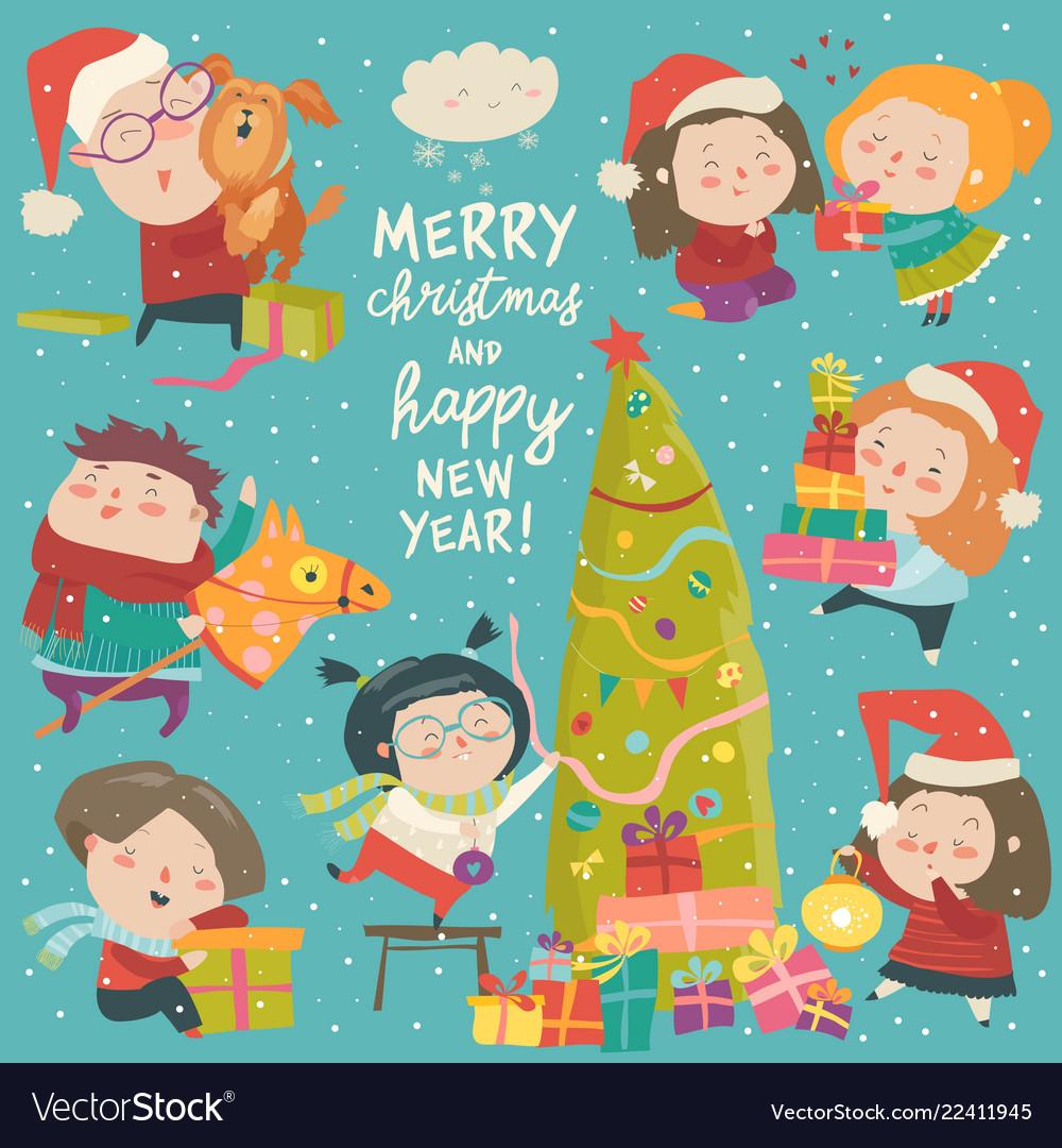 Happy cartoon children with christmas decor merry