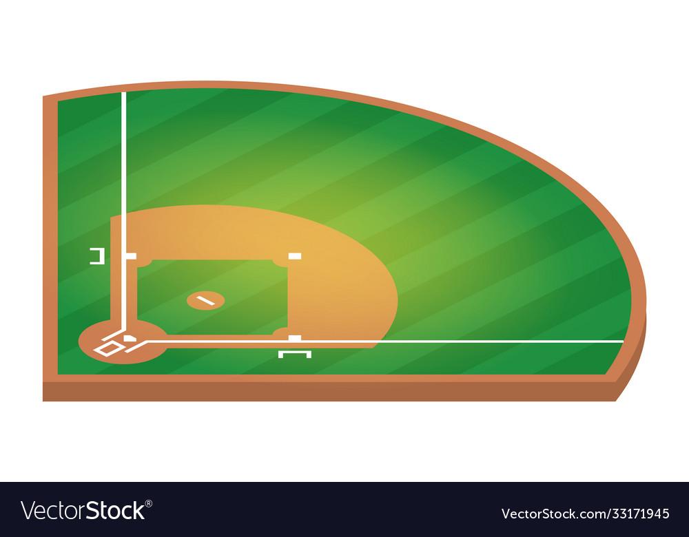 Isometric baseball field flat baseball field