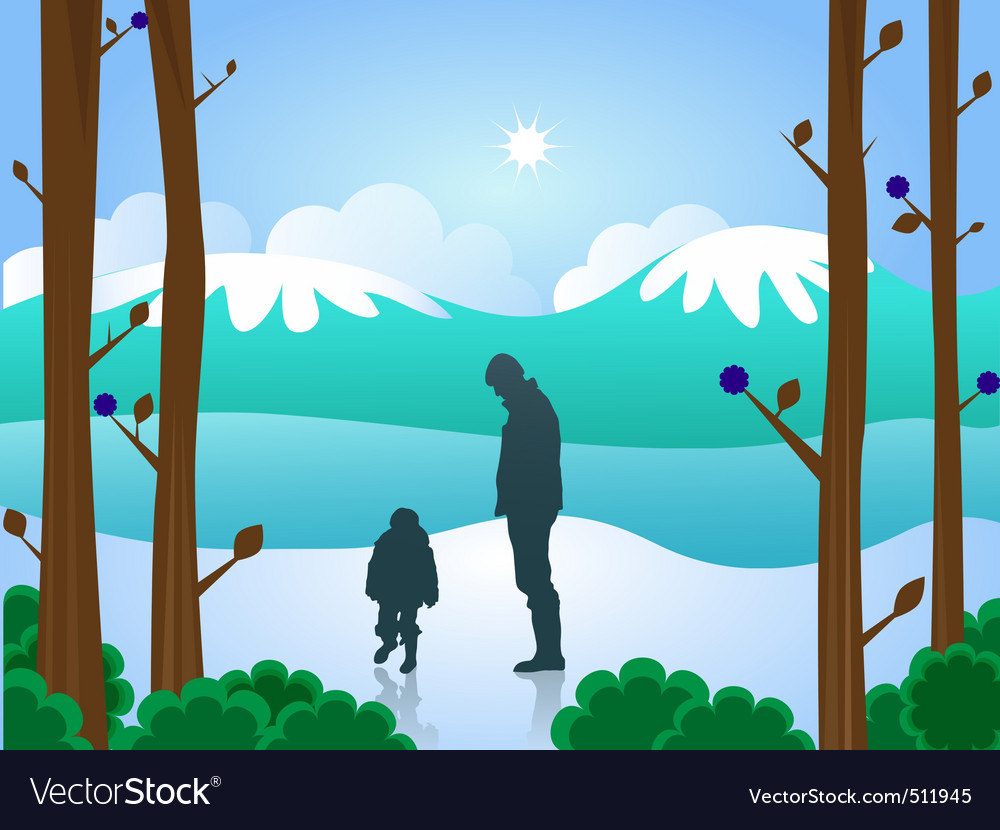 Man and boy in snow