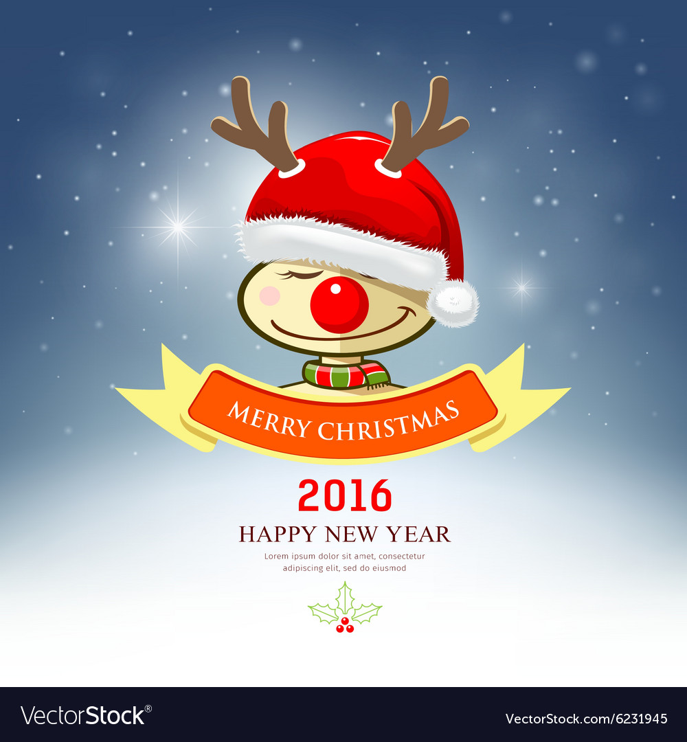 e36fa998502a3 Merry Christmas reindeer with santa hat Royalty Free Vector