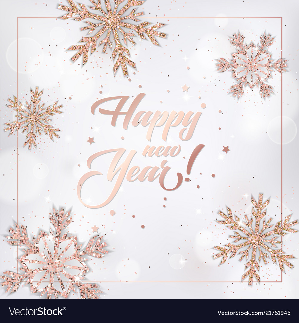 new year 2019 card with rose gold christmas balls vector image