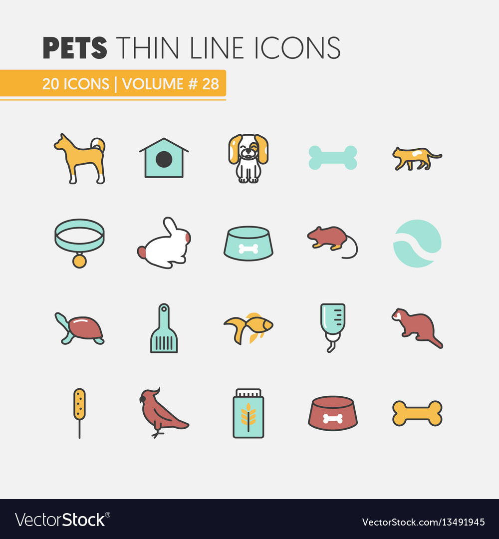 Pets linear thin line icons set with dog cat vector image