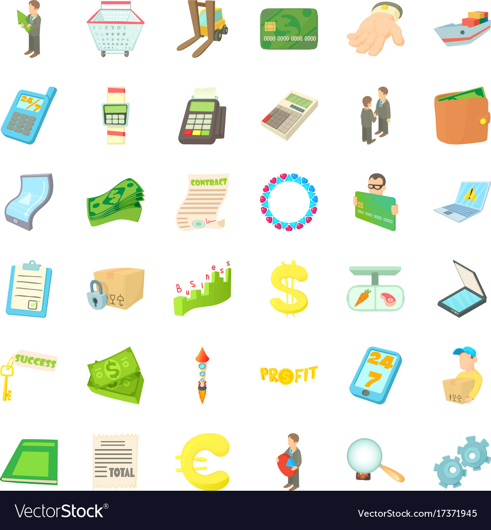 Profit icons set cartoon style vector image