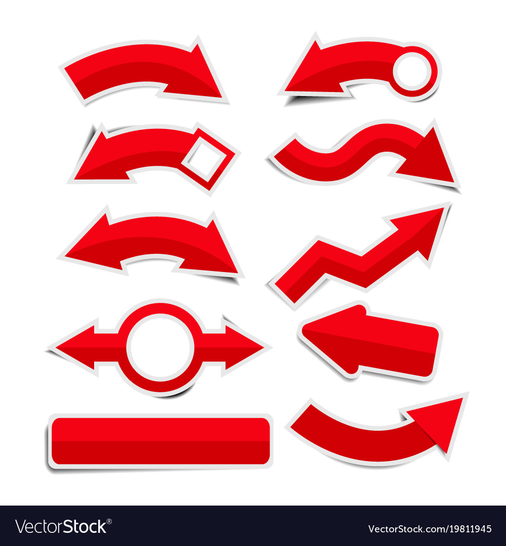 Red paper arrow stickers with shadows