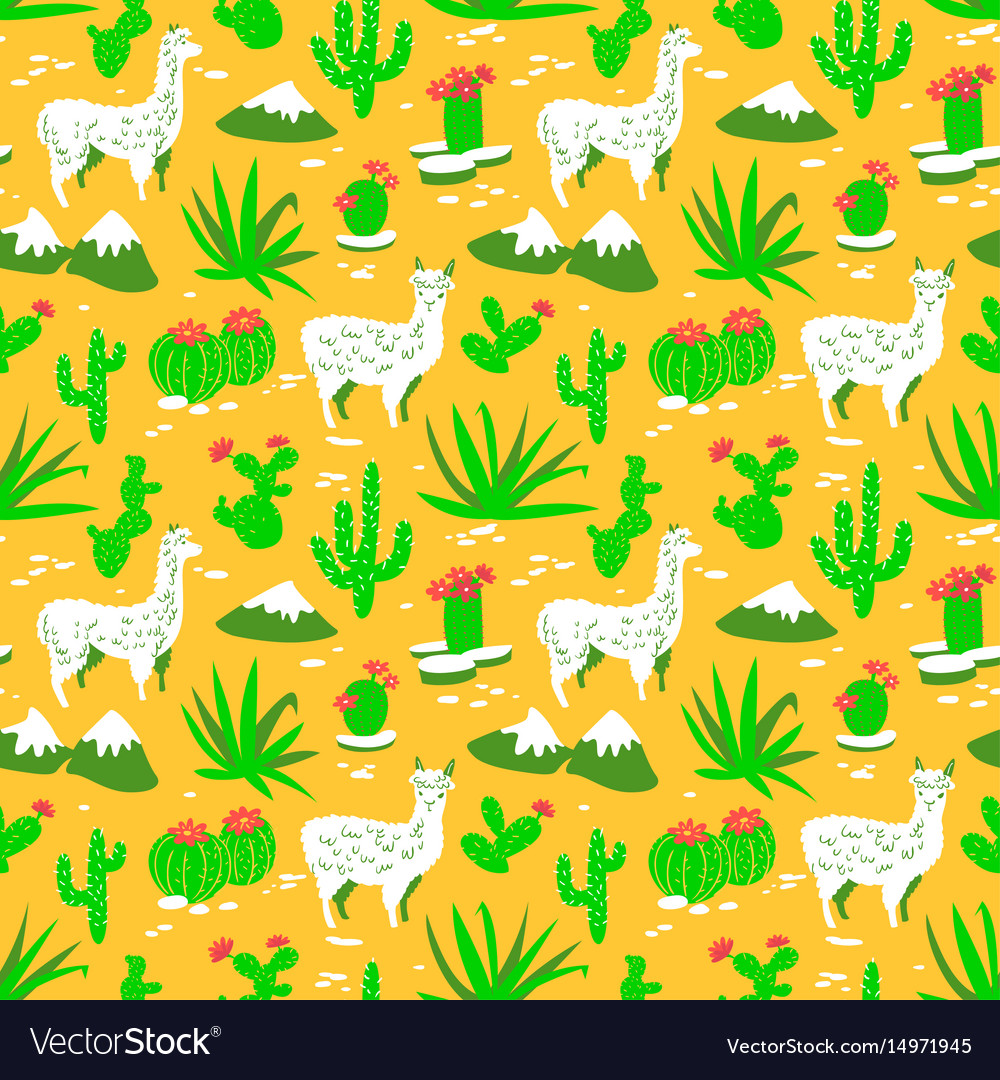 Seamless pattern with alpaca and cactus