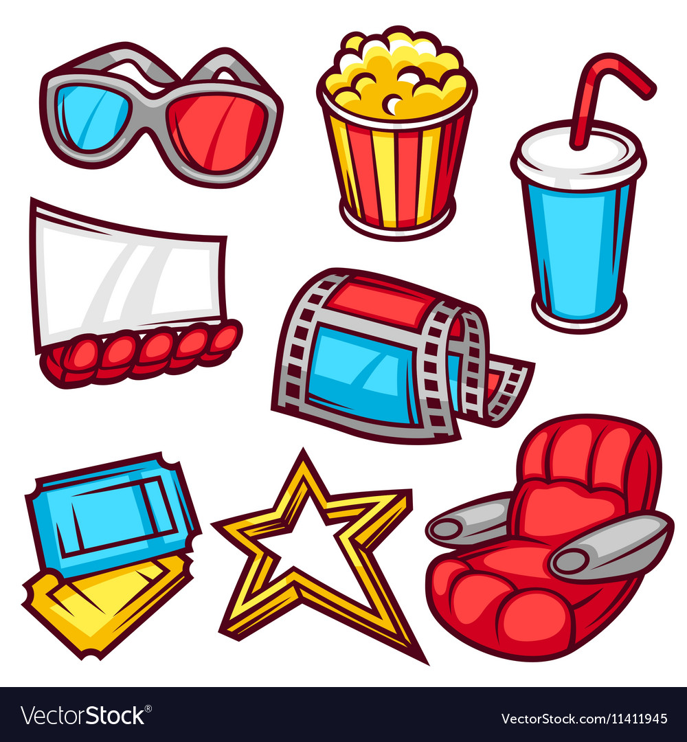 Set of movie elements and cinema objects in vector image