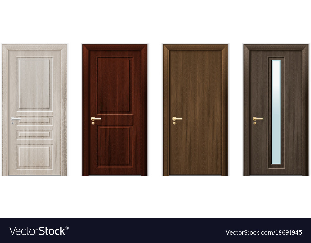 Wooden Doors Design Icon Set Royalty Free Vector Image