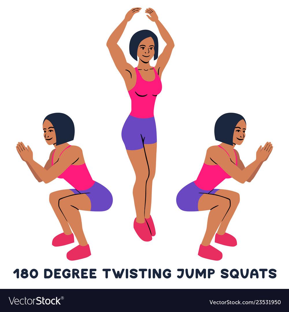 180 degree twisting jump squats sport exersice