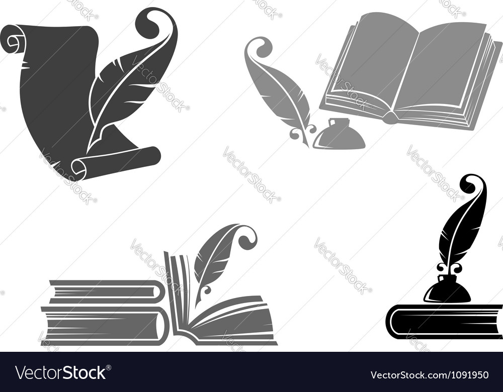 Books and quills vector image