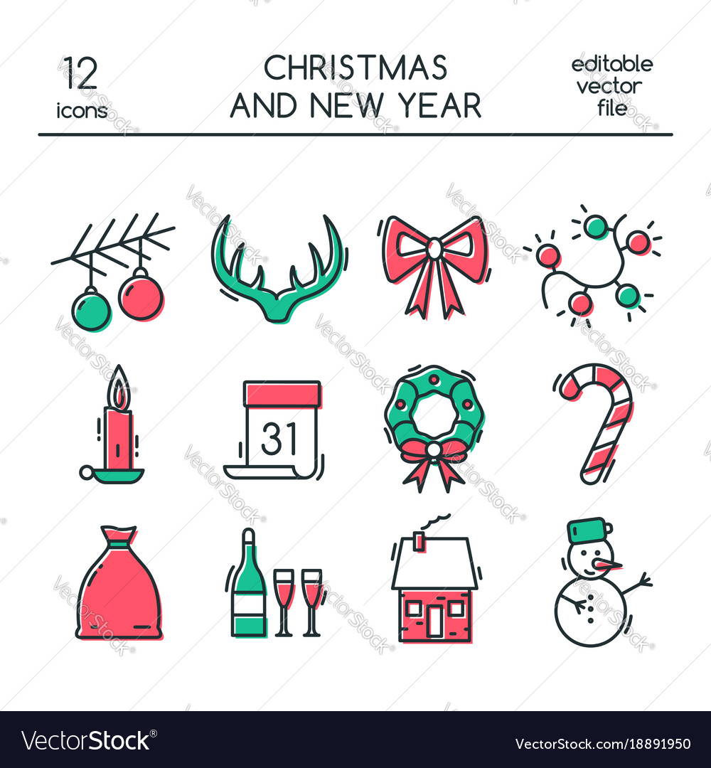 Christmas and new year icons made in modern line