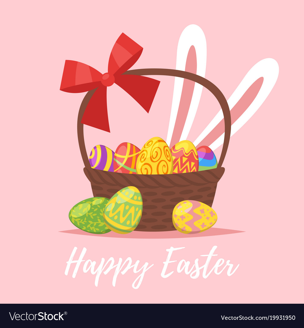 Easter greeting card with festive basket