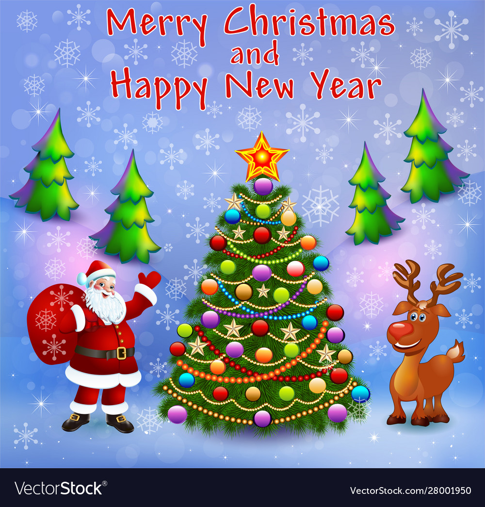 Greeting card with christmas trees santa with