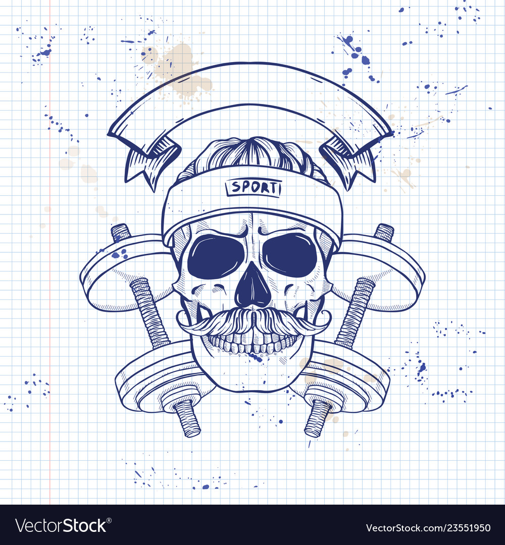 Hand drawn sketch angry sport skull