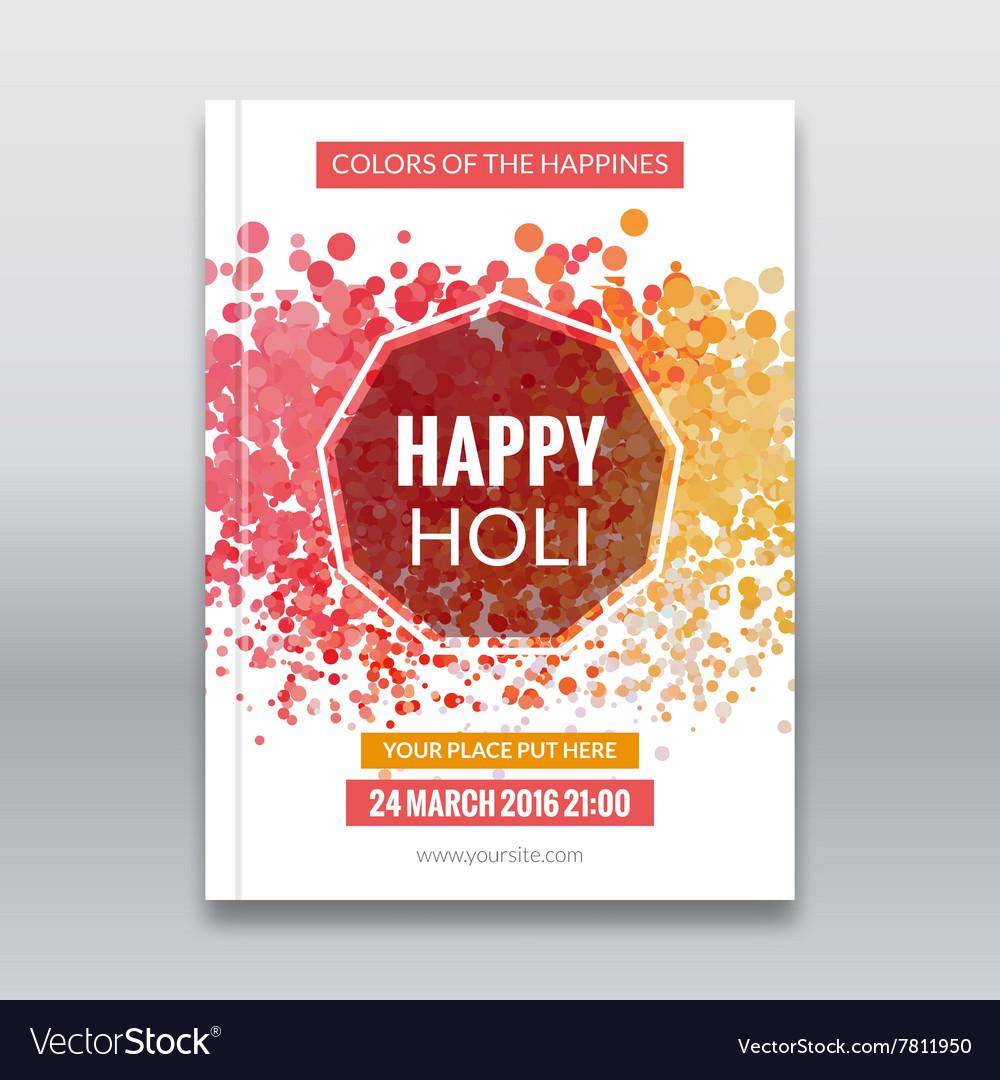 Holi festival poster Template for flyer brochure