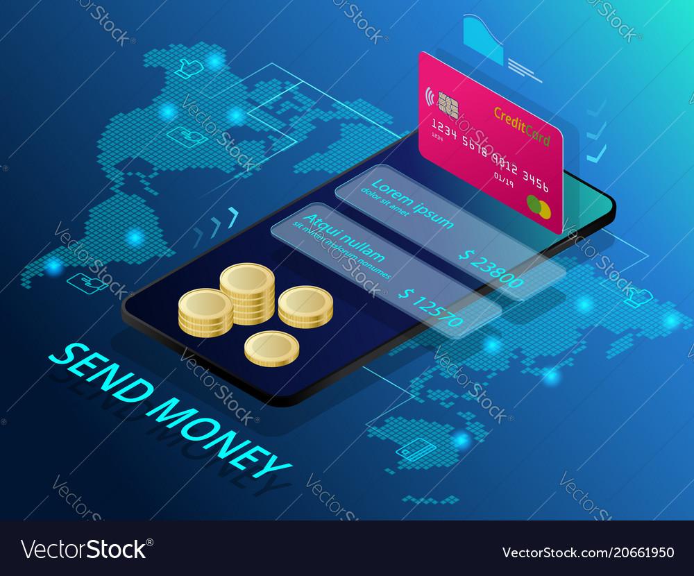 Money Online Transfer Vector Image