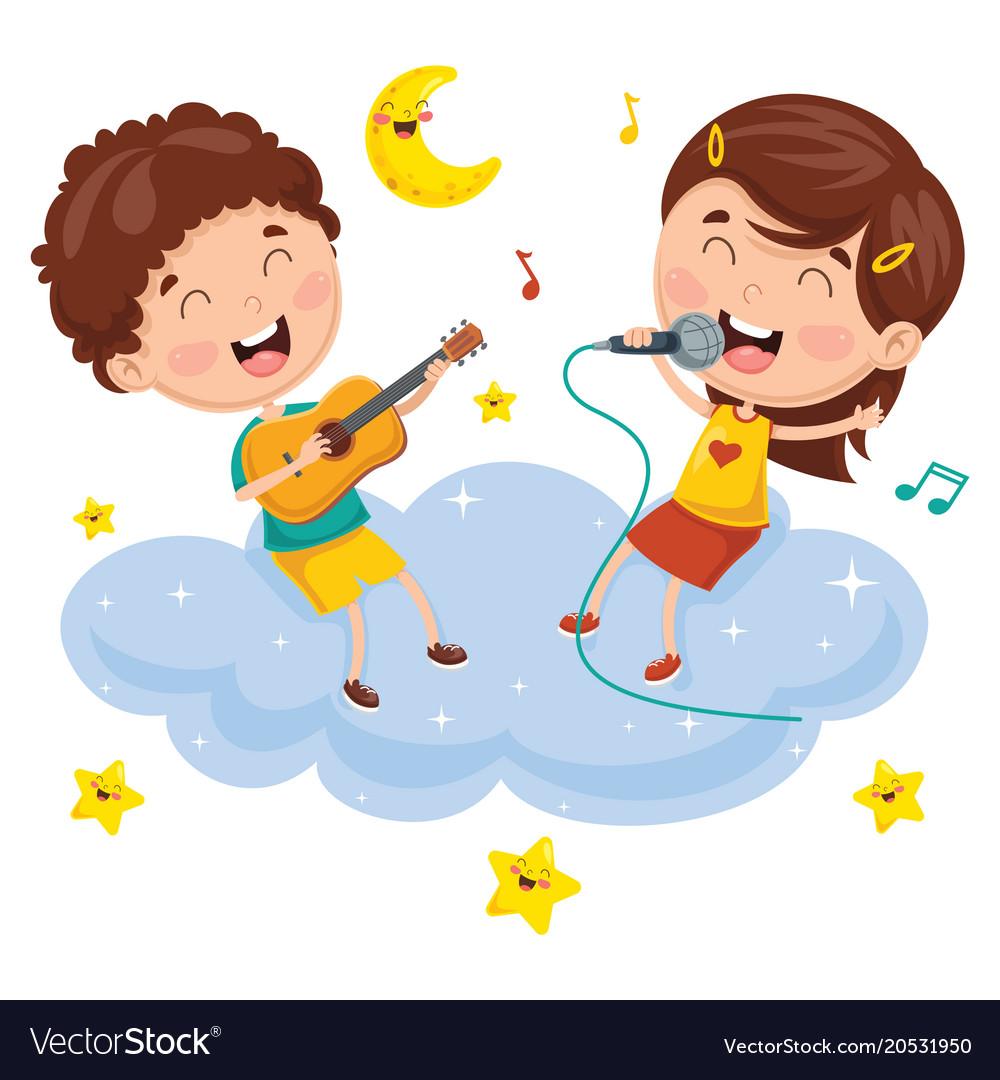 Kids making music on cloud vector image