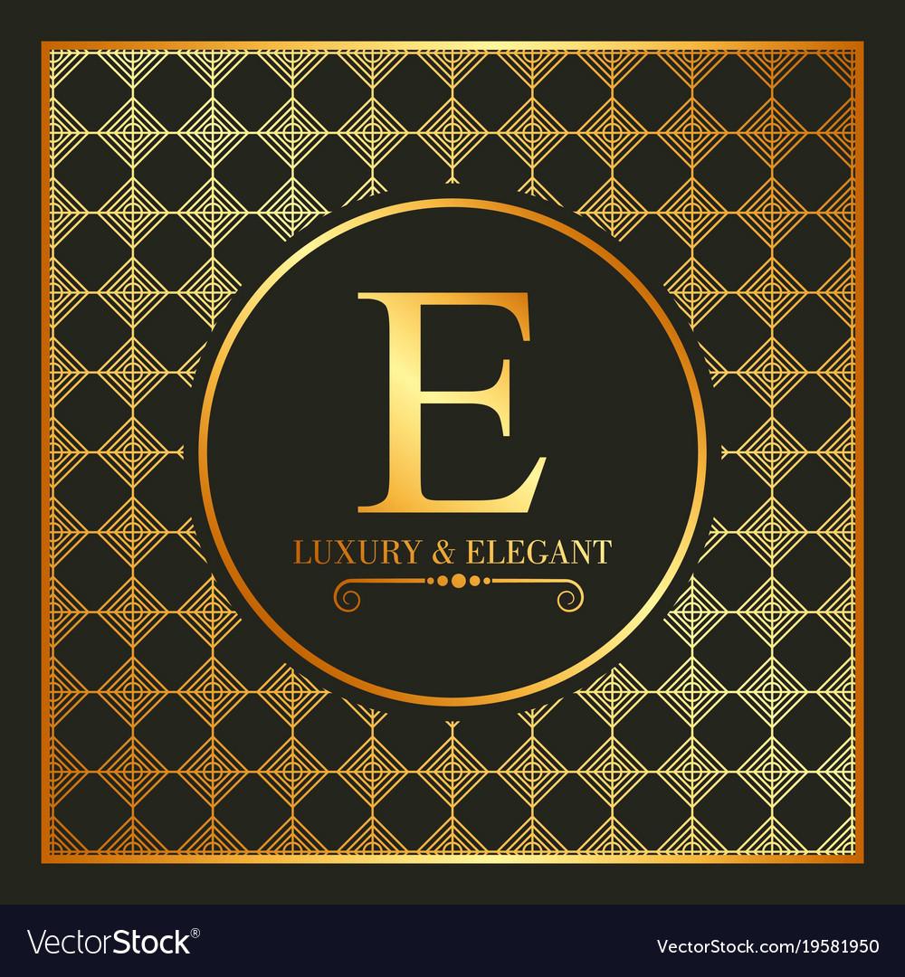 Luxury and elegant gold e font and geometric