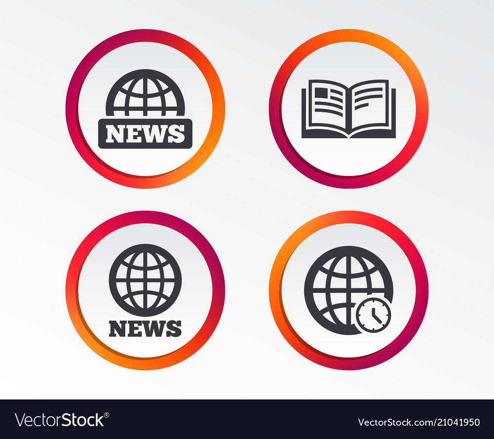 News icons world globe symbols book sign