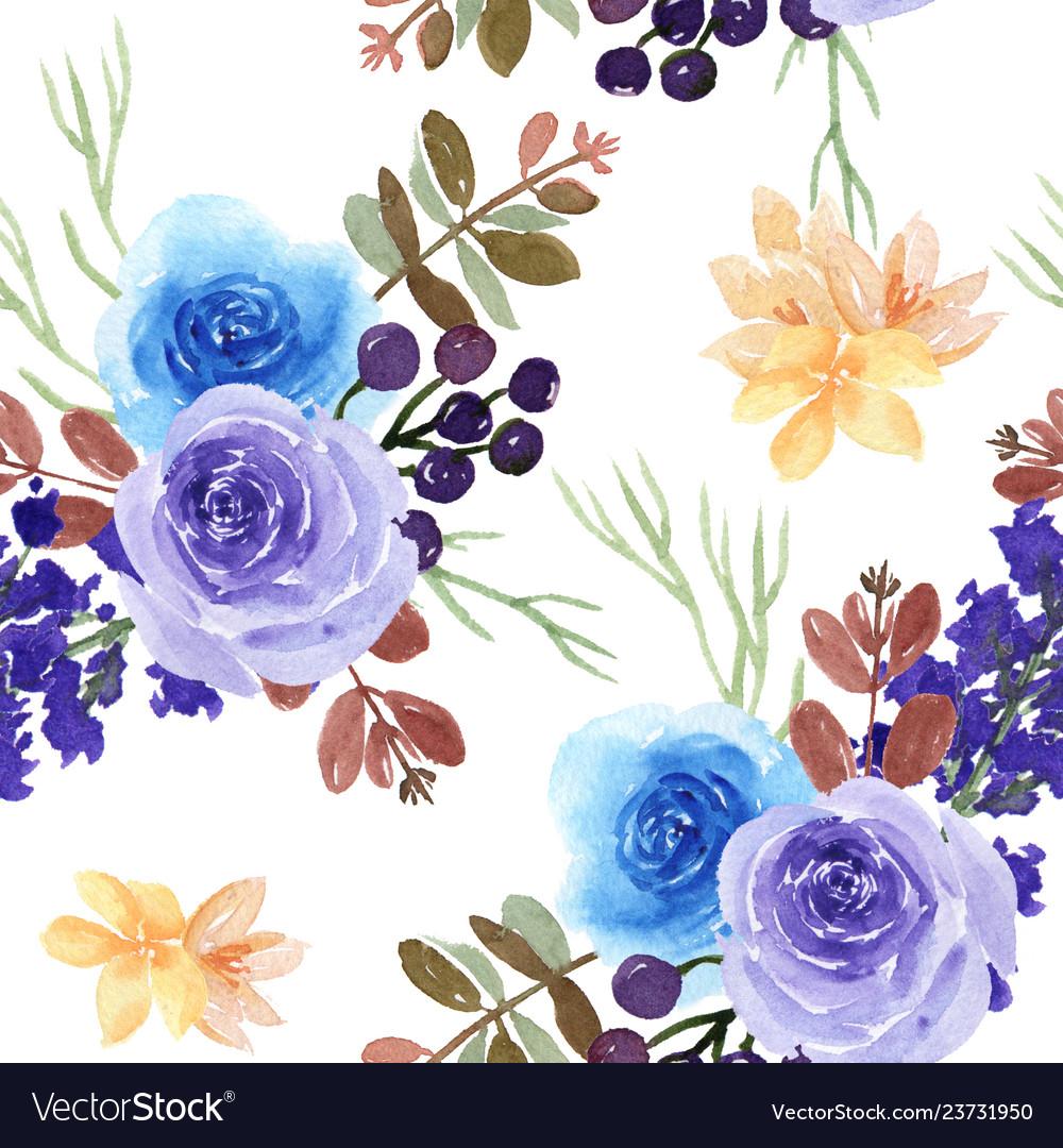Pattern seamless floral lush watercolour style