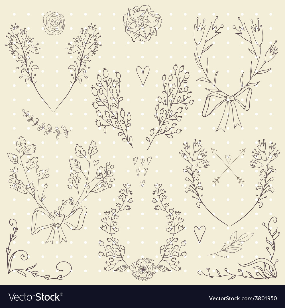 Set hand drawn symmetrical floral graphic