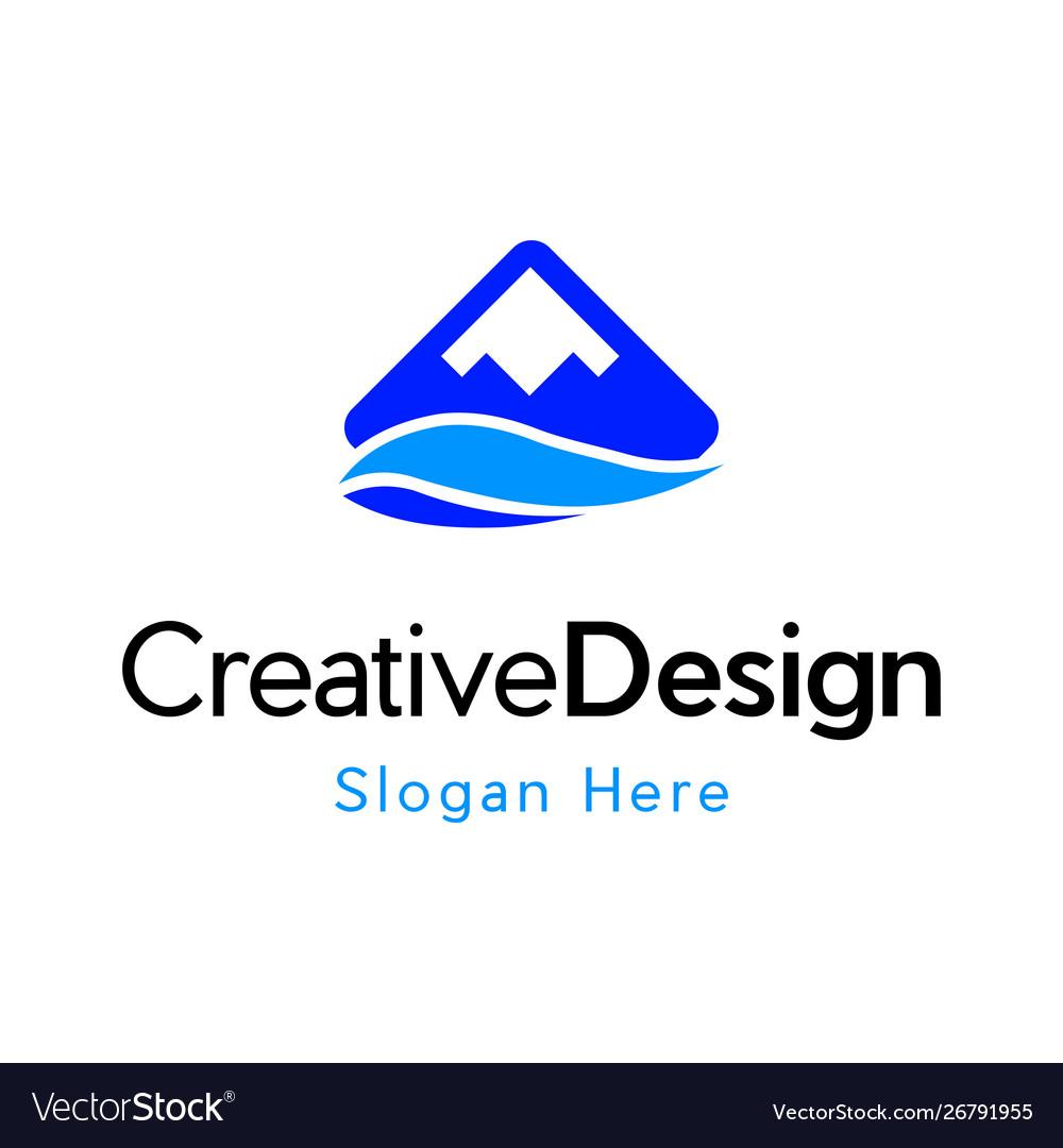 Blue mountain river landscaping creative logo vector image