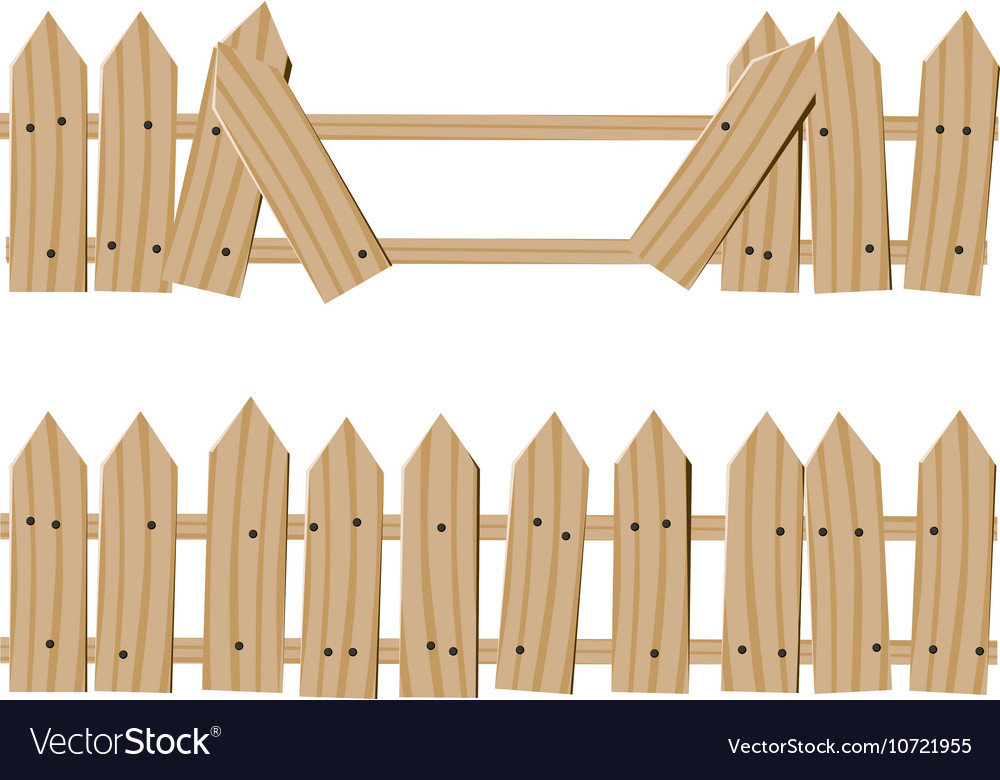 Drawn wooden fence vector image