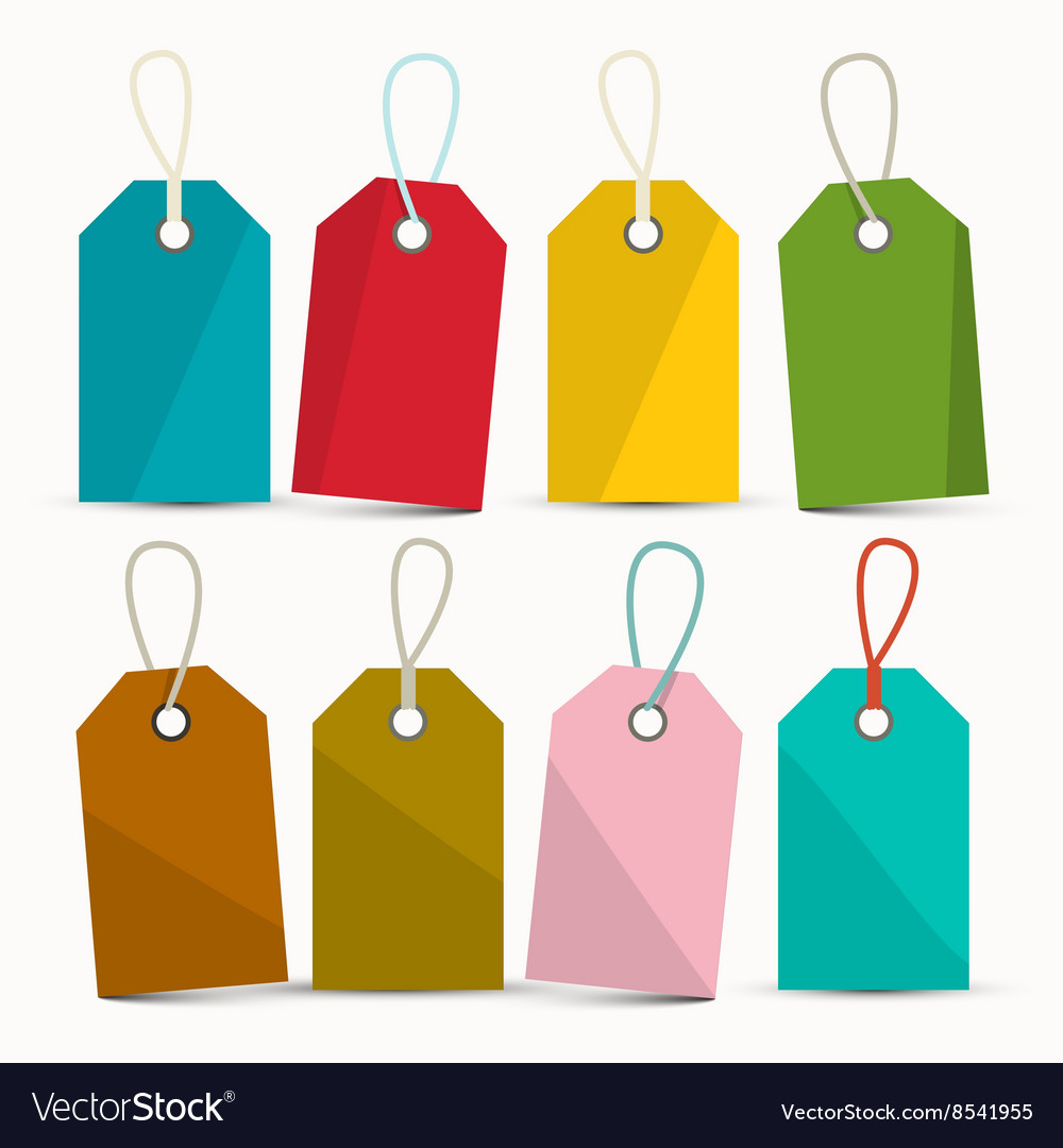 Empty Colorful Labels Set Isolated on White