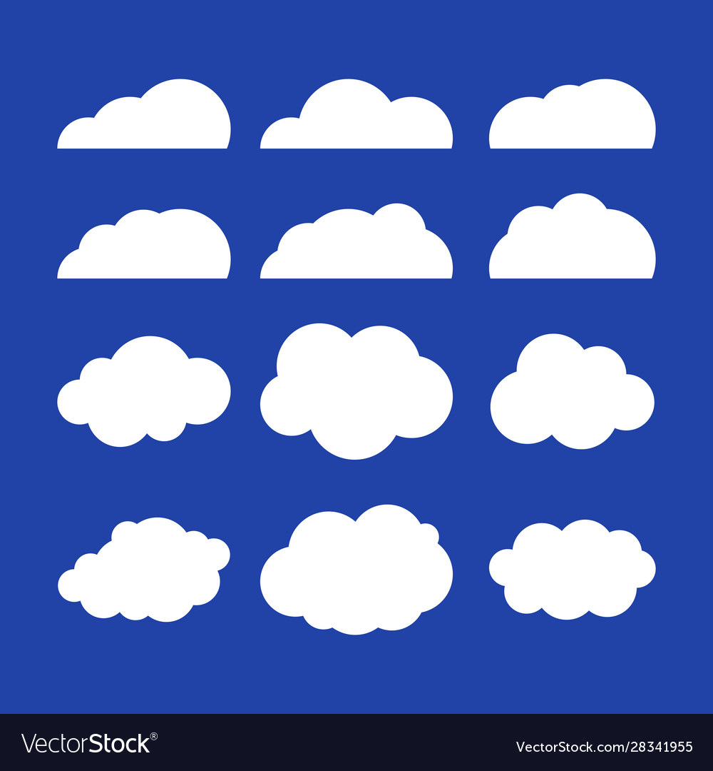 Flat clouds set blue sky background flat vector