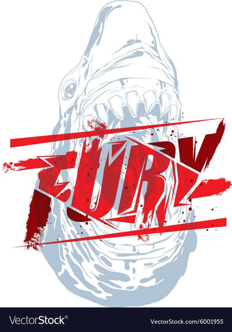 Fury sign with shark head vector image