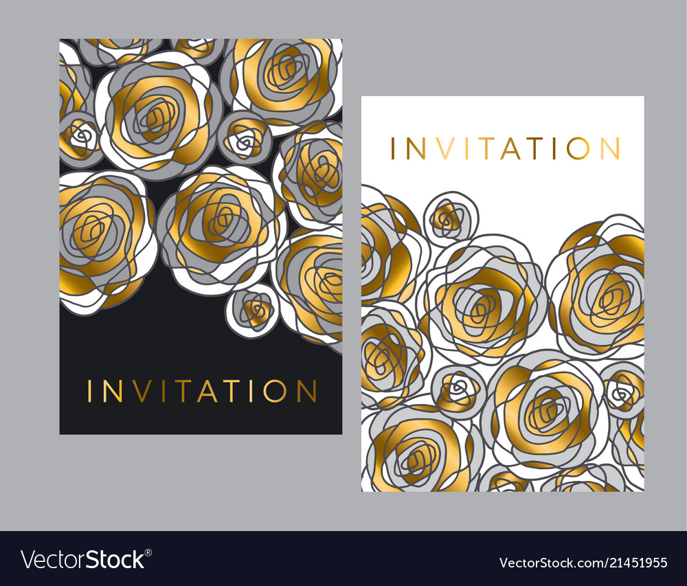 Gold and gray hand drawn rose motif for header