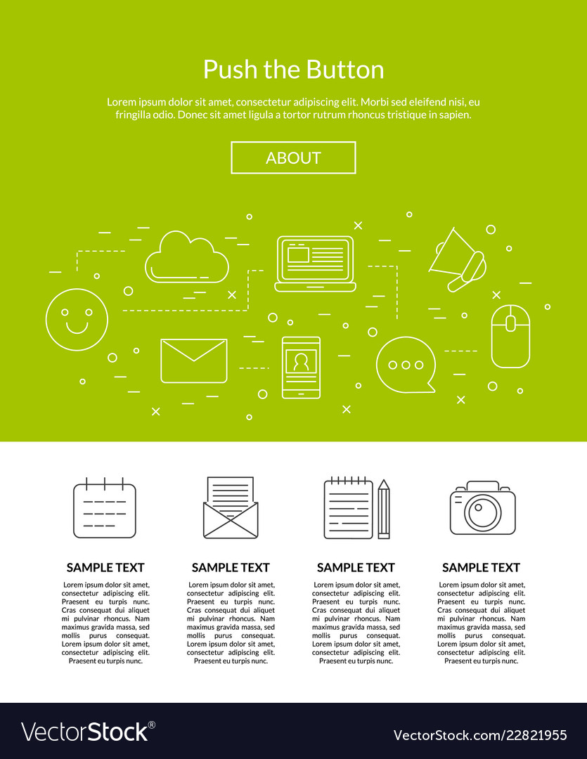 Line blog icons landing page template