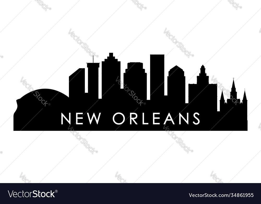 New orleans skyline silhouette black new orleans
