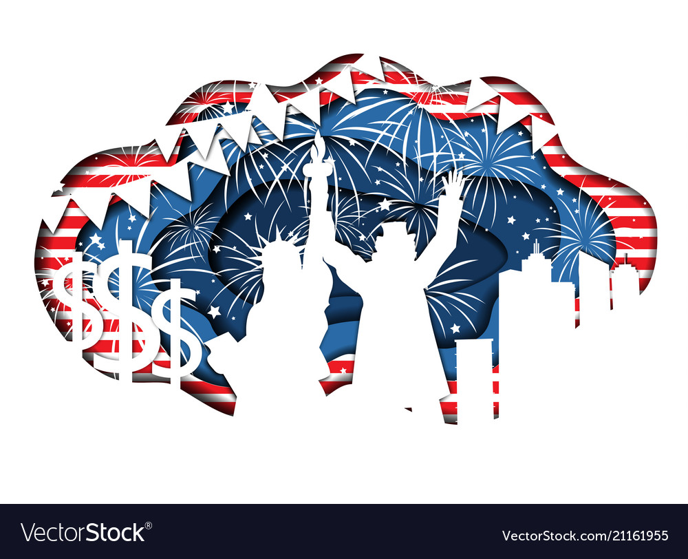 Paper cut banner for independence day july 4