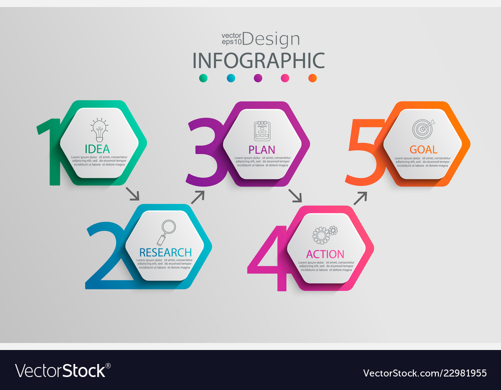 Paper infographic template with 5 hexagon options