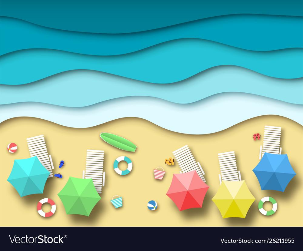 Paper sea beach summer holiday landscape