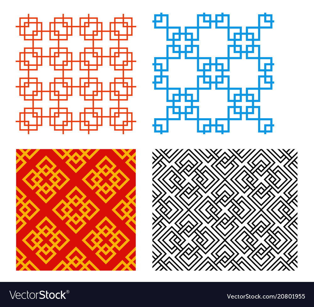 Seamless chinese pattern in geometric style