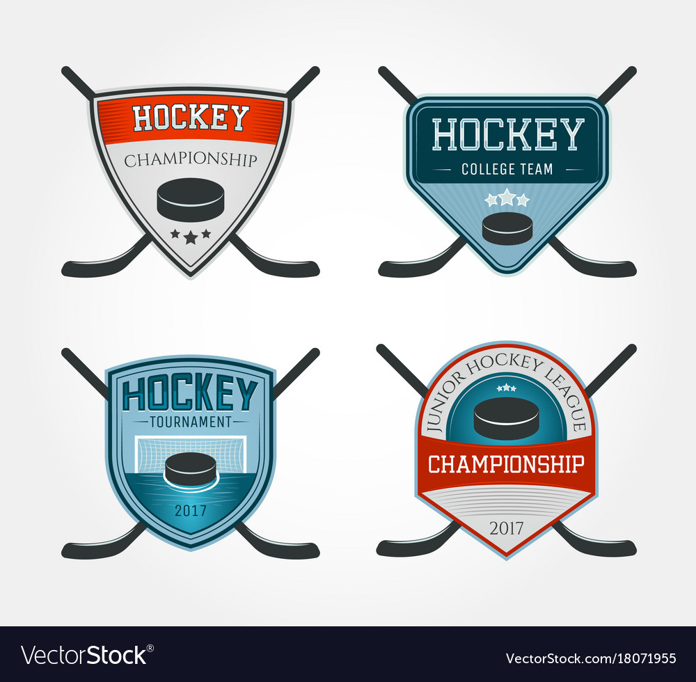 Set of colorful hockey logos