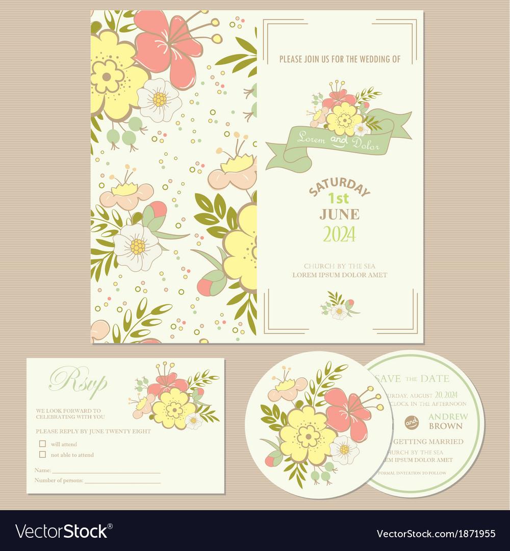 Spring wedding invitation card vector image