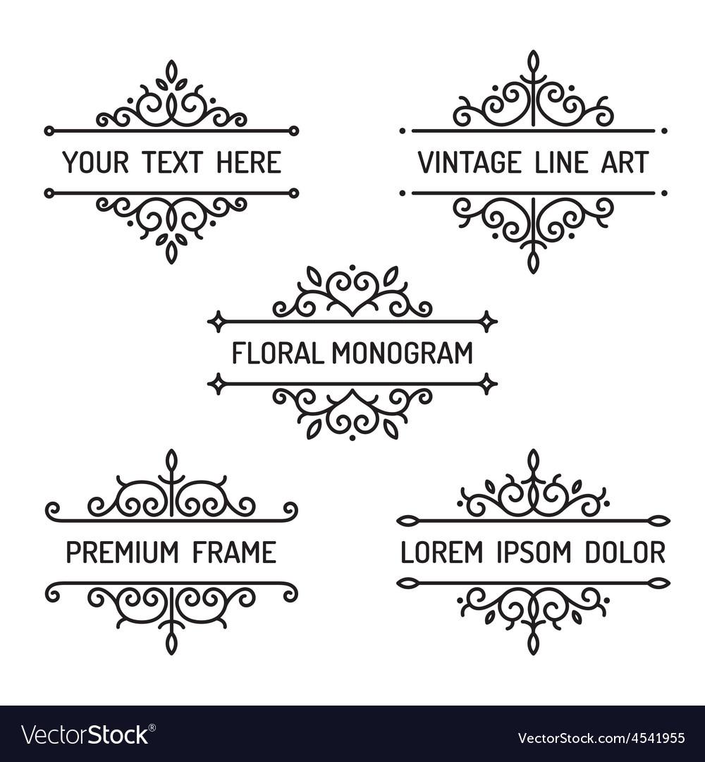 Vintage floral line art frame Royalty Free Vector Image