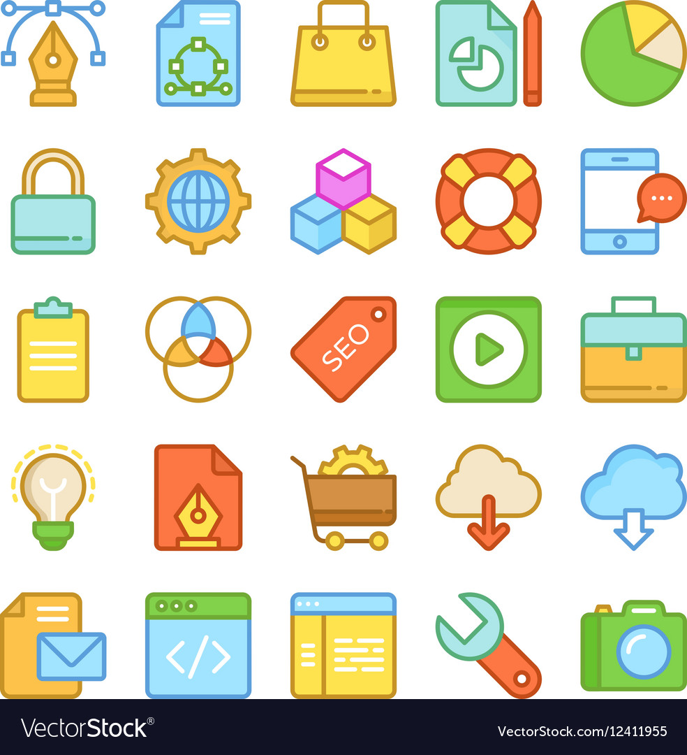 Web Design and Development Colored Icons 1