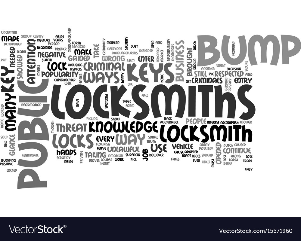 Are bump keys a threat to locksmiths text word vector image