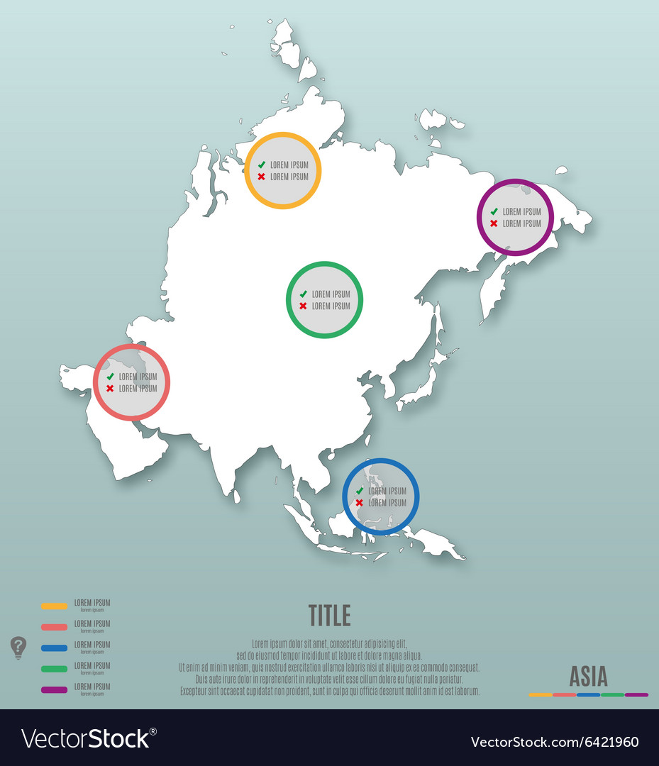Asia continent template for infographics vector image