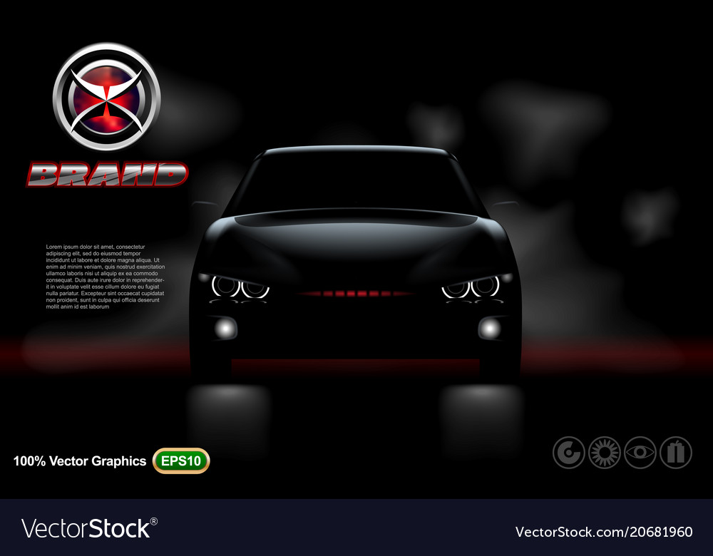 Black car on black background with logo and descri