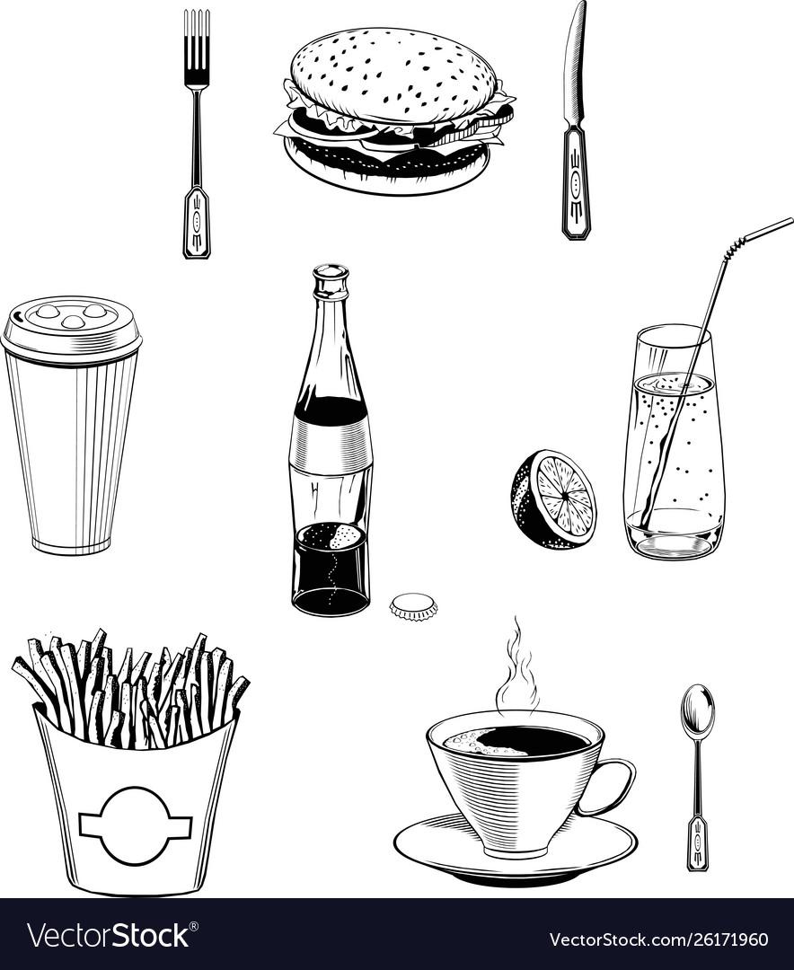 Cafe food set black fast-food monogram