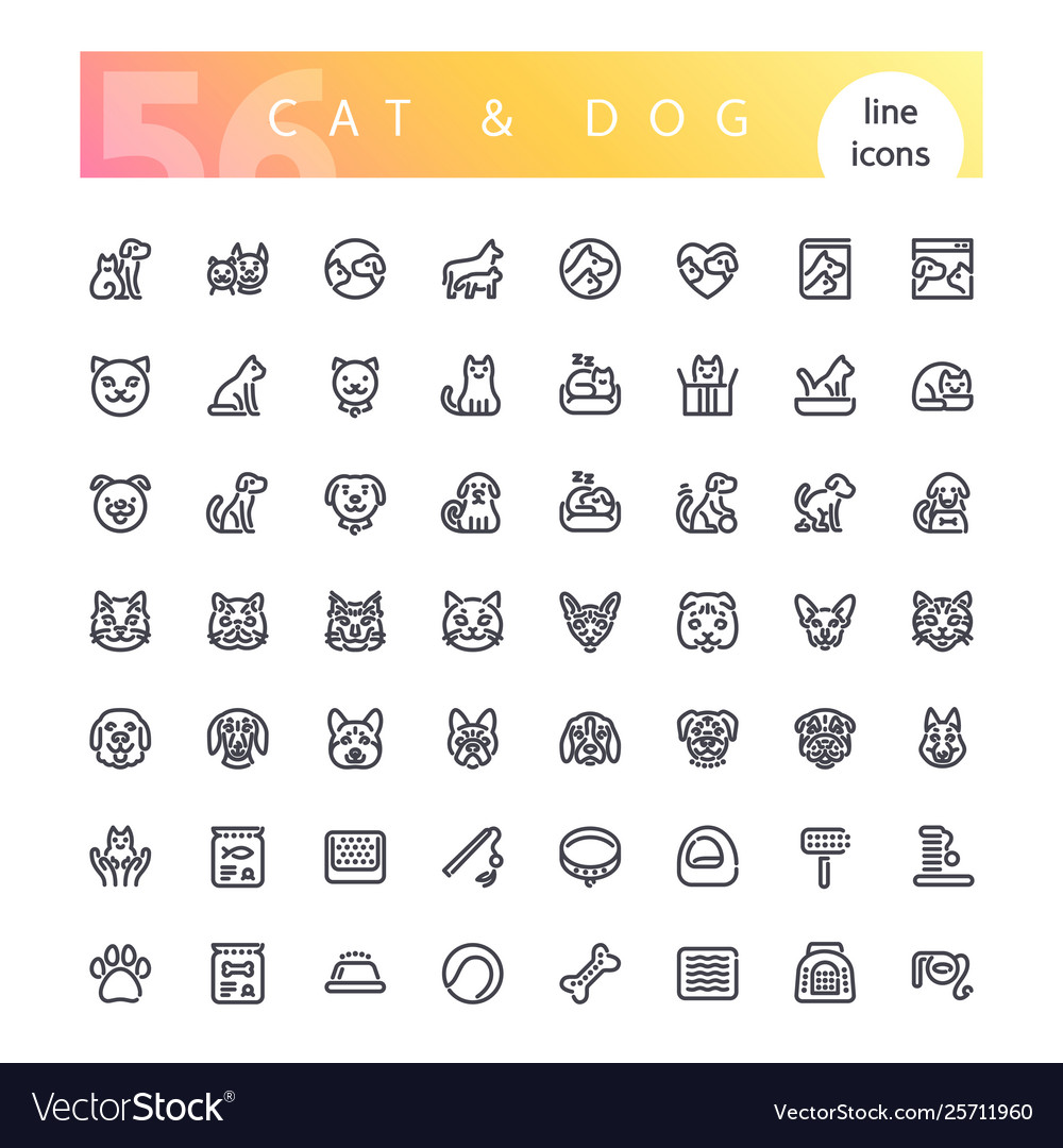 Cat and dog line icons set