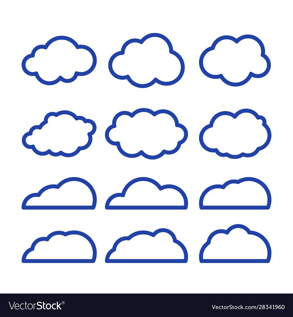 Clouds line art icon storage solution element